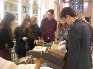 Balliol English students looking at medieval MSS, St Cross, Feb 2013