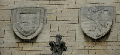 Armorial shields of John de Balliol and Dervorguilla of Galloway his wife, separately (garden quad, above Hall steps)